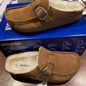 Birkenstock Buckley shearling tan 7 narrow new